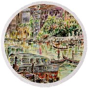 Canale Grande Round Beach Towel by Alfred Motzer
