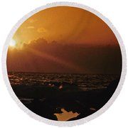Canary Islands Sunset Round Beach Towel