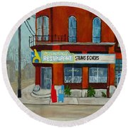 Canary Restaurant Round Beach Towel