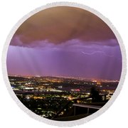 Round Beach Towel featuring the photograph Canberra Lightning Storm by Angela DeFrias