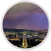 Round Beach Towel featuring the photograph Canberra Stormy Night by Angela DeFrias