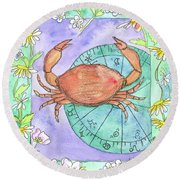 Round Beach Towel featuring the painting Cancer by Cathie Richardson