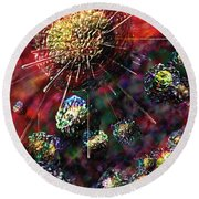 Cancer Cells Round Beach Towel by Russell Kightley