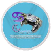 Cancer Sun Sign Round Beach Towel by Shelley Overton