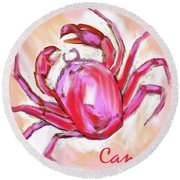 Cancer The Crab Round Beach Towel