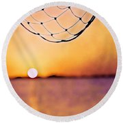 Cancun Sunset On The Lake Round Beach Towel