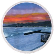 Round Beach Towel featuring the painting Candidasa Sunset Bali Indonesia by Melly Terpening