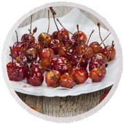 Candied Crab Apples Round Beach Towel
