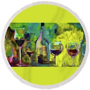 Candle In A Tall Wine Glass By Lisa Kaiser Round Beach Towel