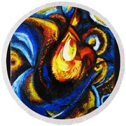 Round Beach Towel featuring the painting Candle In Your Heart by Harsh Malik