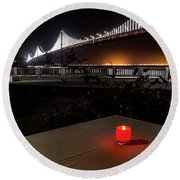 Round Beach Towel featuring the photograph Candle Lit Table Under The Bridge by Darcy Michaelchuk