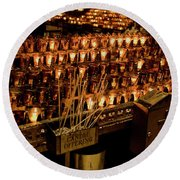 Round Beach Towel featuring the photograph Candle Offerings St. Patrick Cathedral by Lorraine Devon Wilke