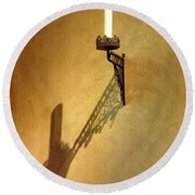 Candle On The Wall Round Beach Towel