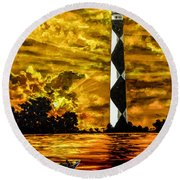 Candle On The Water Round Beach Towel
