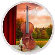 Candle With Violin Round Beach Towel