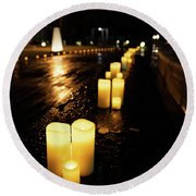 Candles On The Beach Round Beach Towel