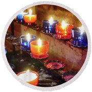 Candles Round Beach Towel