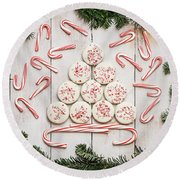 Round Beach Towel featuring the photograph Candy Cane Lane by Kim Hojnacki
