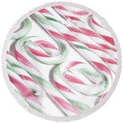 Candy Cane Swirls Round Beach Towel