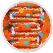 Candy Canes And Christmas Hats Round Beach Towel