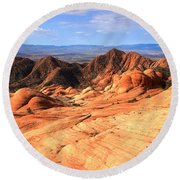 Candy Cliffs And Red Cliffs Panorama Round Beach Towel