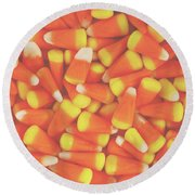 Candy Corn Square- By Linda Woods Round Beach Towel