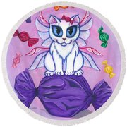 Candy Fairy Cat, Hard Candy Round Beach Towel