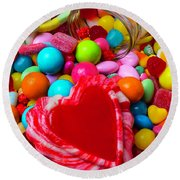Candy Heart And Jar Round Beach Towel