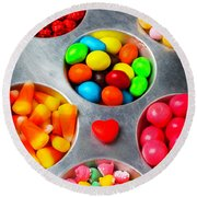 Candy Heart And Tray Round Beach Towel