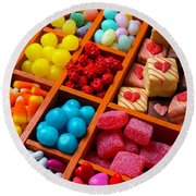 Candy In Compartments Round Beach Towel