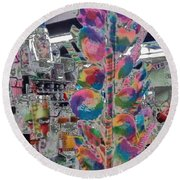 Round Beach Towel featuring the photograph Candy Store by Kathie Chicoine