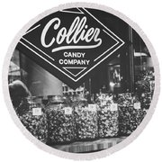 Candy Store- Ponce City Market - Black And White Round Beach Towel