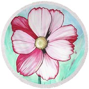 Candy Stripe Cosmos Round Beach Towel by Mary Ellen Frazee
