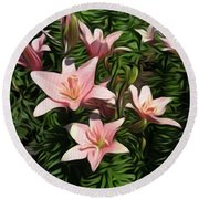 Candy-striped Day Lilies Round Beach Towel