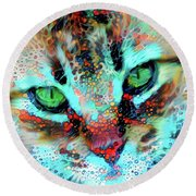Candy The Colorful Green Eyed Cat Round Beach Towel