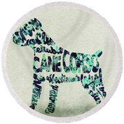 Round Beach Towel featuring the painting Cane Corso Watercolor Painting / Typographic Art by Ayse and Deniz