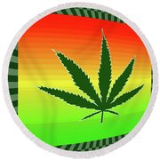 Round Beach Towel featuring the mixed media Cannabis  by Dan Sproul