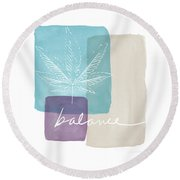 Cannabis Leaf Watercolor 3- Art By Linda Woods Round Beach Towel by Linda Woods