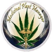Cannabis Medicinal Plant Round Beach Towel