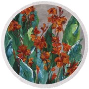 Round Beach Towel featuring the painting Cannas by Jamie Frier