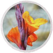 Round Beach Towel featuring the photograph Cannas by Terence Davis