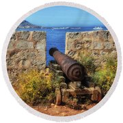 Cannon At Comino Battery Round Beach Towel by Stephan Grixti