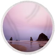 Cannon Beach In The Early Morning Blue Light Round Beach Towel
