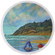 Cannon Beach Kids Round Beach Towel