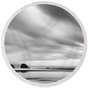 Cannon Beach Long Exposure Sunrise In Black And White Round Beach Towel