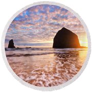 Cannon Beach Sunset Classic Round Beach Towel