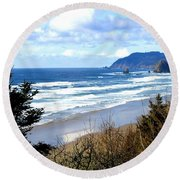 Cannon Beach Vista Round Beach Towel