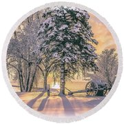 Cannon By The Lake Round Beach Towel