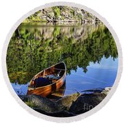 Canoe At Slim Lake Round Beach Towel