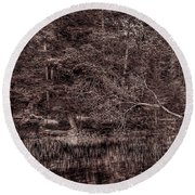 Canoe In The Adirondacks Round Beach Towel